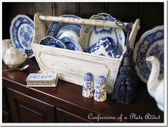Neat way to display vintage china ~ from CONFESSIONS OF A PLATE ADDICT Shabby Tool Box