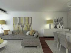 Sala de estar e jantar cinza e amarela
