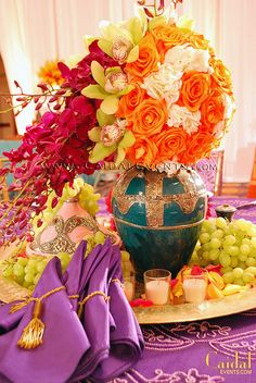 These Moroccan Themed Dinner Centerpieces by Caidal Events are beautiful! And we have the Moroccan tents, bars, and buffets at http://maxkingevents.com/  !!!