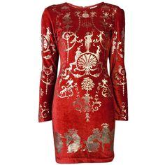 VIVIENNE WESTWOOD VINTAGE Velvet 'sienna' dress (€710) ❤ liked on Polyvore featuring dresses, vestidos, red, short dresses, long-sleeve velvet dress, vintage mini dress, short red dress and short red cocktail dress