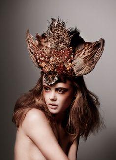 Natural crown. #Feather #Headdress #Hair #Makeup #Editorial #Fashion