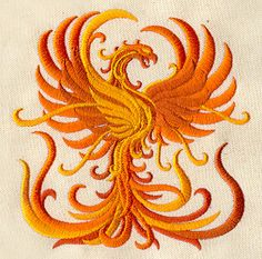 Damask Phoenix Rising Merlin Embroidered Flour Sack Hand/Dish Towel via EmbroideryEverywhere on Etsy Hand Embroidery Designs, Embroidery Files, Embroidery Patterns, Phoenix Design, Phoenix Art, Urban Threads, Dragons, Embroidered Quilts, Textiles
