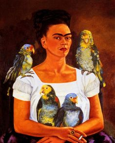 "My Parrots And I by Frida Kahlo. Reproduction giclee on canvas. Overall size is 20 x 24""  (image size is 16 x 20"" on finest grade canvas)"