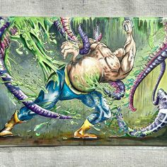 """""""Toxic Tentacles"""" by Daniel Grissom Original Artwork done in Copic markers 5"""" x 7"""" ▲ Price: $28 ∆ Signed and shipped with mat and backing board, in protective closure bag, without frame. ▲ Unique original, handmade, and signed by the artist. ∆ Please contact me with any questions. ▲ I'm open to commissions. Reach out! ∆ Follow me on Instagram @grissomd. ▲ Thank you so much for checking out my page! The support means a ton. -Daniel"""