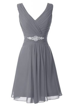 Manfei Women's V-Neck Chiffon Short Bridesmaid Dress Party Dress Gray Size 8
