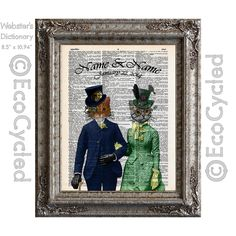 New to EcoCycled on Etsy: Steampunk Cats In Love with Names & Date on Vintage Upcycled Dictionary Art Print Book Art Print Anniversary Wedding Victorian Customized (15.50 USD)