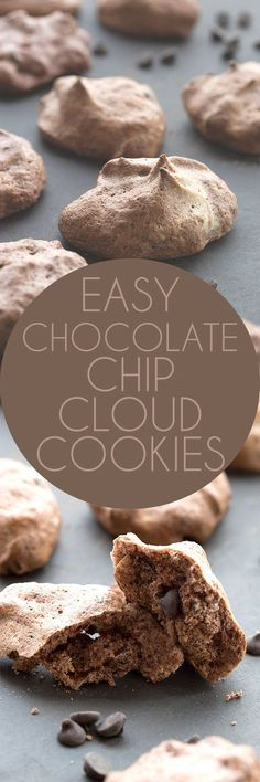 Chewy crisp low carb chocolate meringues with sugar-free chocolate chips. These easy low carb chocolate chip clouds are a delicious keto cookie recipe! via @dreamaboutfood