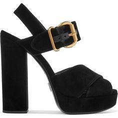 Prada Velvet platform sandals (£600) ❤ liked on Polyvore featuring shoes, sandals, heels, high heels sandals, chunky heel sandals, chunky platform sandals, strappy heeled sandals and heeled sandals