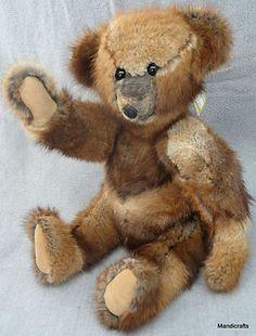 Vintage Artist Teddy Bear c1970s by Liz Knowles Real Mink Fur Coat, Memory Bear
