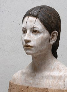 """Julia"", 2012 - Pear wood sculpture by Bruno Walpoth (Italian, b. Sculpture Head, Human Sculpture, Abstract Sculpture, Bronze Sculpture, Wood Sculpture, Metal Sculptures, Italian Artist, Wooden Art, Sculpting"