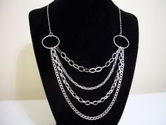 Layered Chain Necklace  - Sterling Silver by CopperfoxGemsJewelry on Etsy
