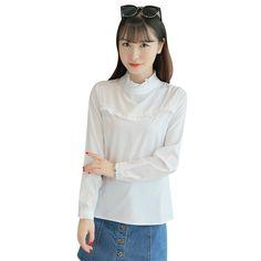4.2 5% de réduction Corée Style Femmes Chemisier Blanc Chemise  Court Manches Longues Tops Col montant Mince OL Bureau Vêtements De Travail  Solide Dames 2018 ... a6b41b55e8b