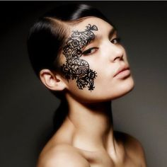 Face lace on @brigademondaine 💄  Mehndoodle 2...a design from our first collection. Inspired by a mix Mehndi art and calligraphic flourishes. Photo by @matthewshave hair by @peterbecketthair model @lucienontha makeup #phylliscohen represented by @davidartistsltd #makeupart #makeupaddict #makeupartist #beauty #art #model #facelace #1stcollection #mendi #fashion #style #face #matthewshavephotography #originaldesigner  #brigademondaine