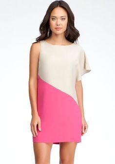 Bebe One Shoulder Colorblock Silk Dress Day Dresses Cement/fuchsia Prple-s
