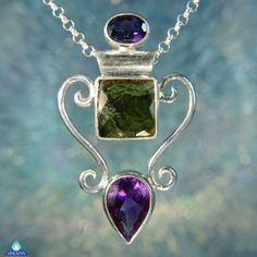 Faceted Amethyst & Moldavite Gemstone by ArkadianCollection