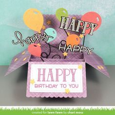 Lawn Fawn - Scalloped Box Card Pop-up, Happy Happy Happy, Party Balloons _ card by Chari for Lawn Fawn Design Team