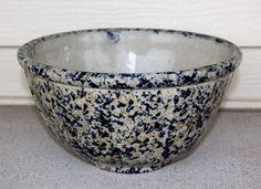 "RED WING Huge 11"" Cobalt Blue & Gray Spongeware Stoneware Crock Bowl OLD Vintage #REDWING"
