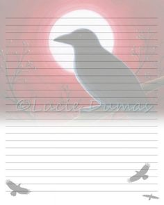 Digital Printable Journal Page Stationary 8x10 Download Scrapbooking Paper Bird 62 Crow Raven Template art painting Lucie Dumas by artbyLucie on Etsy
