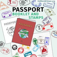 Passport Booklet & Stamps Growing Bundle: Around the World Unit, Geography Fair Around The World Theme, Around The World In 80 Days, Holidays Around The World, Around The Worlds, Around The World Crafts For Kids, Passport Template, Passport Stamps, Geography Games For Kids, Teaching Geography