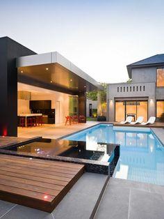 garten-mit-pool-beistelltisch-luxus-modern   dekoration, Garten Ideen