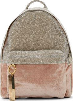 Amelie Pichard Pink & Silver Velvet Backpack