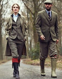 Fall Season hunt fashion with wellies of course.
