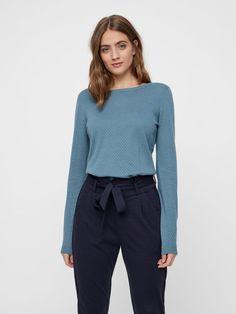 MED STRUKTUR PULLOVER, Smoke Blue, large New Wardrobe, Tights, Pullover, Sweaters, Smoke, Fashion, Blouse, Model, Moda