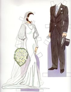 "Bride & Groom 1930s*1500 free paper dolls at Arielle Gabriel""s The International Paper Doll Society and free Chinese Japanese paper dolls at The China Adventures of Arielle Gabriel *"
