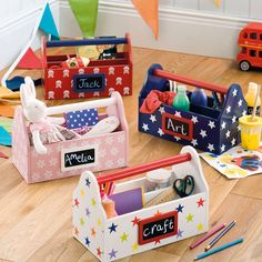 Carry Caddy - Desk Accessories - Home & School - gltc. Toy Storage Boxes, Kids Storage, Toy Boxes, Storage Ideas, Childrens Storage Furniture, Diy Kids Furniture, Kids Woodworking Projects, Wooden Projects, Diy For Kids