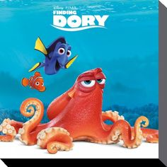Finding Dory - Disney - Dory, Hank, & Nemo - Brand New Official Canvas Print. Size (approx): 16 inches x 16 inches (40 cm x 40 cm). Official Merchandise. FREE SHIPPING