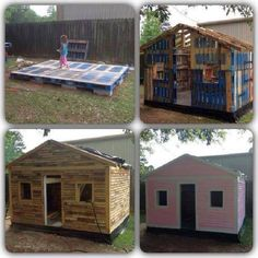 Wood Pallets Garden shed, Wendy house, play house made from recycling upcycling wooden pallets, love it Pallet Playhouse, Pallet Shed, Build A Playhouse, Pallet House, Pallet Kids, Shed From Pallets, Free Pallets, Playhouse Ideas, Pallet Benches
