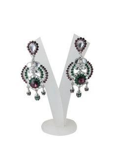 Amazon.com: Danglers Earrings- Polki Style Silver Finish with Mahogany Stone Earrings: Tarini Jewels: Jewelry