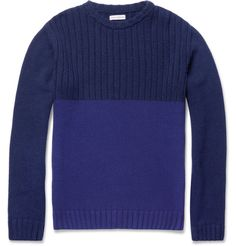 blue ribbed crew neck sweater by Oliver Spencer