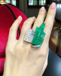 Important 45 carat rough Colombian emerald ring by Shanghai based fine jeweller @qiuqiu_he - We donated this piece to a charity event last year, truly one of a kind. I bought the stone directly from an artisanal mining operation in the Muzo region the same day it was pulled out.
