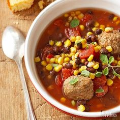 You only need 5 ingredients and 10 minutes of prep time to make this Mexican stew before you put it in your slow cooker for the rest of the day. This is sure to be a family-favorite dinner recipe with plenty of flavor from healthy turkey meatballs, corn, black beans and tomatoes.