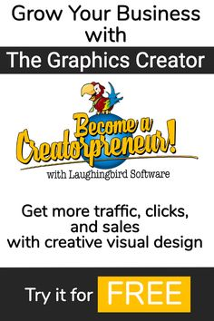 Get more traffic, engagement, and sales with eye-catching visual design that you create. Try out The Graphics Creator for FREE and you'll discover a new way to grow your business. Become a Creatorpreneur with Laughingbird Software. #graphics #graphicdesign #visualdesign #graphicdesignsoftware #software #creative #smallbusiness #freedesign Business Card Logo, Business Tips, Online Business, Free Design Software, Design Your Own Website, Web Design, Logo Design, Design Ideas, Graphic Design Templates