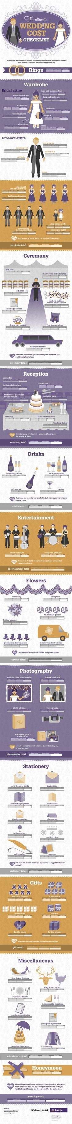 The Ultimate Wedding Cost Checklist Infographic.. wow. one day