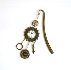 Marque-pages steampunk bronze et beige, cabochon coton horloge, engrenages : Marque-pages par color-life-bijoux