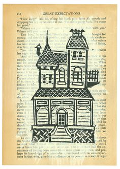 original linocut print of a Victorian house on a page from a beautifully aged copy of the Charles Dicken's classic Great Expectations. Linocut Prints, Art Prints, Block Prints, 7th Grade Art, Linoleum Block Printing, Edwardian Architecture, Great Expectations, Art Programs, Art Journal Pages