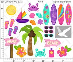 Surfer Girls Clipart Clip Art and Digital by pixelpaperprints