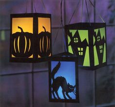 These would be pretty easy to make if you had plain lanterns and add the designs you'd like on the outside. These Halloween paper lanterns by Livia McRee Halloween Quilts, Moldes Halloween, Manualidades Halloween, Adornos Halloween, Halloween Disfraces, Halloween Crafts, Halloween Decorations, Photo Halloween, Holidays Halloween