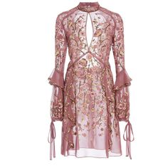 Moda Operandi (€3.665) ❤ liked on Polyvore featuring dresses, long sleeve dress, short dresses, mock neck long sleeve dress, long sleeve ruched dress and red a line dress