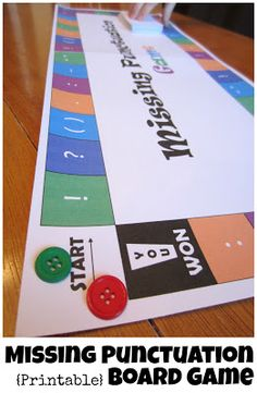 Relentlessly Fun, Deceptively Educational: Missing Punctuation Board Game [printable] Cards with sentences that are missing some punctuation. Move your piece to the missing punctuation on the board. This looks like such a fun game! Punctuation Activities, Grammar Games, Grammar And Punctuation, Teaching Grammar, Teaching Writing, Literacy Activities, Teaching Ideas, 4th Grade Writing, Kids Writing