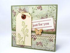 Just for You   Rustic Card  Shabby Chic Card  by PrettyByrdDesigns