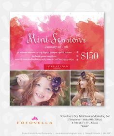 Valentine's Day Mini Session Photography Marketing Template - Photographer Online Marketing - 1047. $8.00, via Etsy.