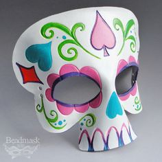 Calavera Leather Mask - Day Of The Dead Sugar Skull In Pink, Purple And Turquoise