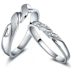 Custom made engraved zircon sterling silver couple rings - $38.00