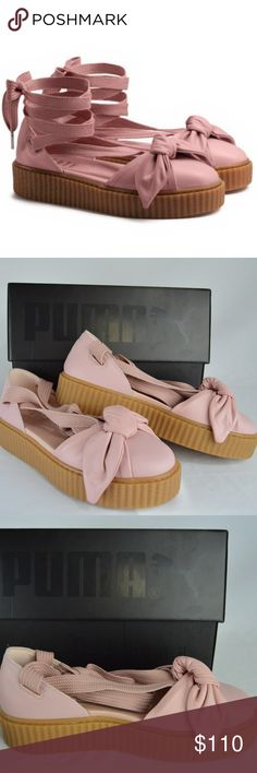 FENTY Puma by Rihanna Bow Creeper Sandal 9 This Creeper Bow Sandal takes the Creeper sole and creates a spring espadrille style look with laces and bow details. Taking inspiration from fans, who uniquely used Creeper's laces as added accessories to their Creepers, you can lace your Creeper Bow Sandals all the way up your oh-so-sexy ankle. SIze: 9 Color: Pink NEW with Box / No Tags Gum Creeper Sole Soft Leather Upper with bow construction on the toe Long Sneaker Laces for a wrap-around-ankle…