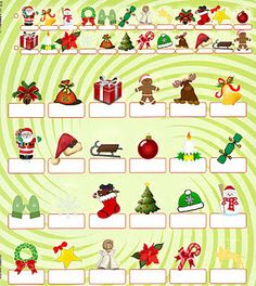 Free printable christmas sheets for Guess who new edition (2010) board.