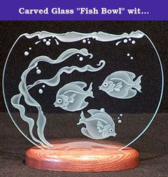 "Carved Glass ""Fish Bowl"" with Fish and Sea Grass in 9 inch Glass. This Fish Bowl design is carved into 1/4 inch plate glass, ots matery top cut clean out of the glass. It sits in a handcrafted wooden base in your choice of Cherry, Oak or Walnut. Please let us know your choice of base when ordering. This item makes a wonderful gift, and is the perfect addition to your home or office decor!."